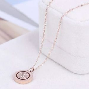 Michael Kors Rose Gold Circle Crystal Necklace